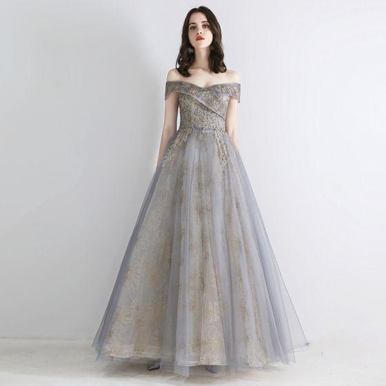 Elegant Grå Guld Selskabskjoler 2019 Prinsesse Off-The-Shoulder Kort Ærme Pailletter Beading Glitter Tulle Lange Flæse Halterneck Kjoler