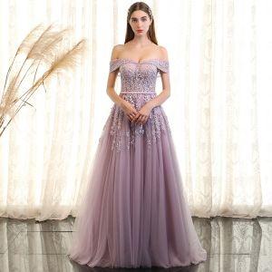 Elegante Lavendel Galajurken 2018 A lijn Kant Bloem Parel Gordel Uit De Schouder Korte Mouwen Ruglooze Lange Gelegenheid Jurken