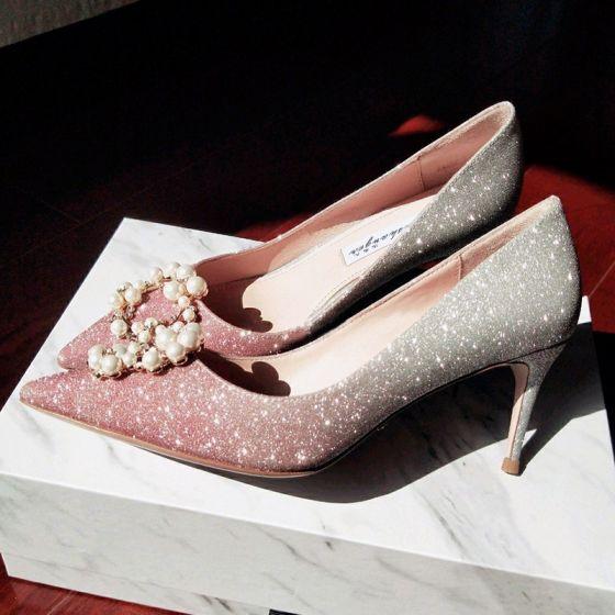 Charmant Candy Roze Bruidsschoenen 2019 Leer Rhinestone Parel Pailletten 10 cm Naaldhakken / Stiletto Spitse Neus Huwelijk Pumps