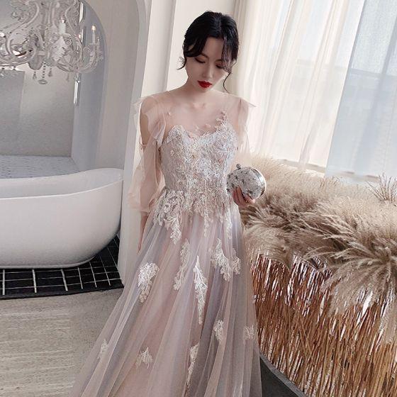 Mode Rodnande Rosa Aftonklänningar 2020 Prinsessa Urringning Beading Spets Blomma Långärmad Halterneck Långa Formella Klänningar