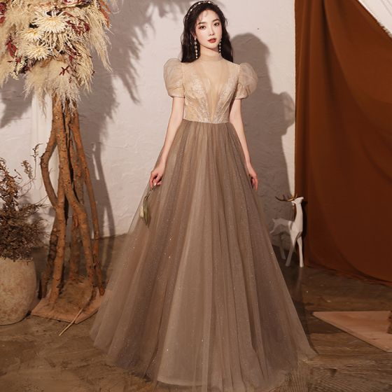 Vintage / Retro Brown See-through Dancing Prom Dresses 2020 A-Line / Princess High Neck Puffy Short Sleeve Sequins Beading Glitter Tulle Floor-Length / Long Ruffle Backless Formal Dresses