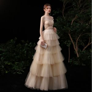 Best Champagne Evening Dresses  2020 A-Line / Princess Spaghetti Straps Sleeveless Sequins Beading Floor-Length / Long Cascading Ruffles Backless Formal Dresses