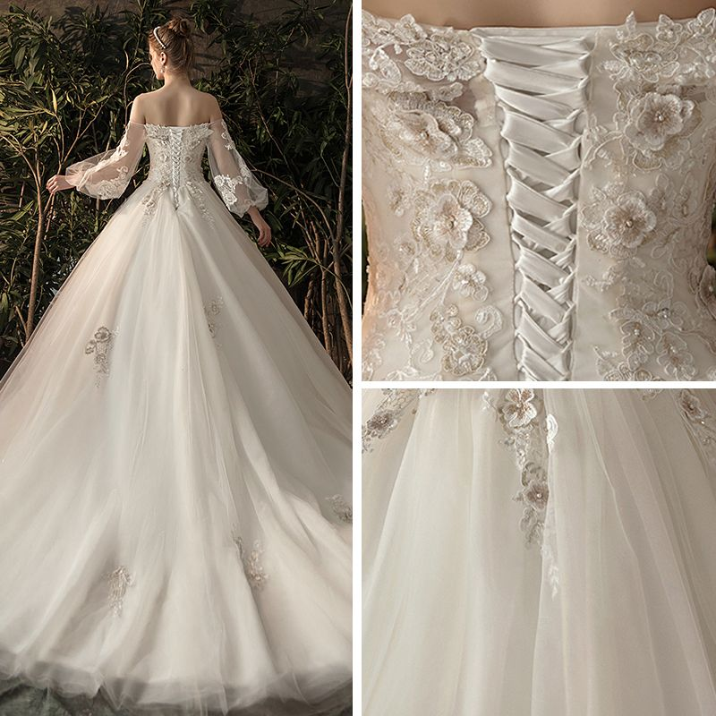 Elegant Ivory See-through Wedding Dresses 2019 Princess Off-The-Shoulder Puffy Long Sleeve Backless Appliques Lace Flower Pearl Chapel Train Ruffle