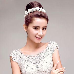 Blanc Perle Strass Mariée Coiffure / Fleur Tete / Accessoires De Cheveux De Mariage / Bijoux De Mariage
