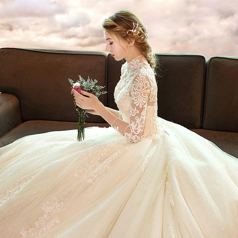 Elegante Champagner Brautkleider / Hochzeitskleider 2019 A Linie Stehkragen Spitze Blumen 3/4 Ärmel Rückenfreies Königliche Schleppe