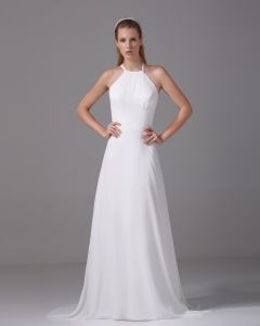 Elegant Halter Longueur Plisse Robe De Mariée Empire En Mousseline De Soie