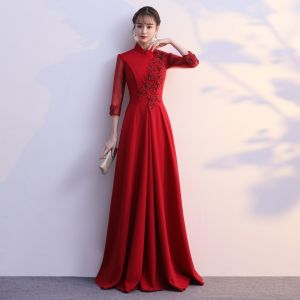 Classy Burgundy Evening Dresses  2019 A-Line / Princess High Neck Bow Lace Flower 1/2 Sleeves Floor-Length / Long Formal Dresses