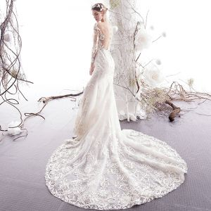 Charming Ivory Wedding Dresses 2019 Trumpet / Mermaid See-through Scoop Neck Beading Lace Flower 3/4 Sleeve Chapel Train