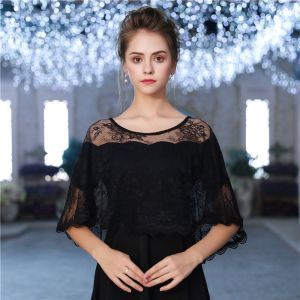 Black U-Neck Lace Tulle Evening Party Prom Shawls 2017