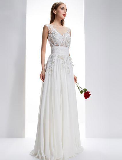 Utsökta A-line Fyrkantig Ringning Borrat Spets Blommor Backless Chiffong Bröllopsklänning
