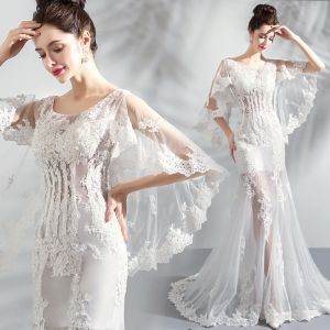 Chic / Beautiful White Beach Wedding Dresses 2018 Trumpet / Mermaid Scoop Neck See-through Long Sleeve Backless Appliques Lace Sweep Train