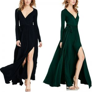 Sexy Black Maxi Dresses 2018 V-Neck Long Sleeve Sash Split Front Floor-Length / Long Ruffle Womens Clothing