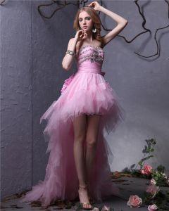 Elegant Fil Charmeuse Bowknot Perles Robe Bustier Asymetrique Femmes Bal