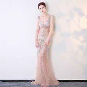 Sexy Pearl Pink See-through Evening Dresses  2018 Trumpet / Mermaid V-Neck Sleeveless Beading Crystal Floor-Length / Long Backless Formal Dresses
