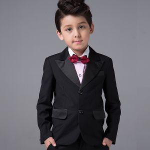 Eenvoudige Boys Wedding Suits Lange Mouwen Zwarte 2017
