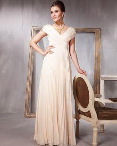 Perlen Plissierte Chiffon Charmeuse V-ausschnitt Bodenlangen Abendkleid