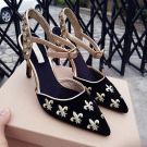 Chic / Beautiful 2017 8 cm / 3 inch Black Green Casual Cocktail Party Evening Party Outdoor / Garden PU Summer Embroidered Low Heels / Kitten Heels Stiletto Heels Pumps