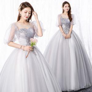 Elegante Grau Ballkleider 2020 A Linie Rundhalsausschnitt Perle Spitze Blumen 1/2 Ärmel Rückenfreies Lange Festliche Kleider