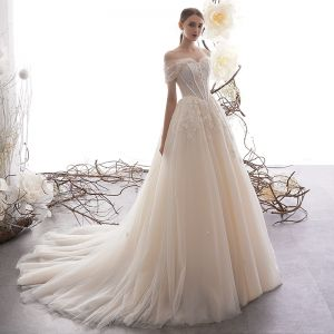 Chic / Beautiful Champagne Wedding Dresses 2019 A-Line / Princess Off-The-Shoulder Short Sleeve Backless Glitter Appliques Lace Beading Court Train Ruffle