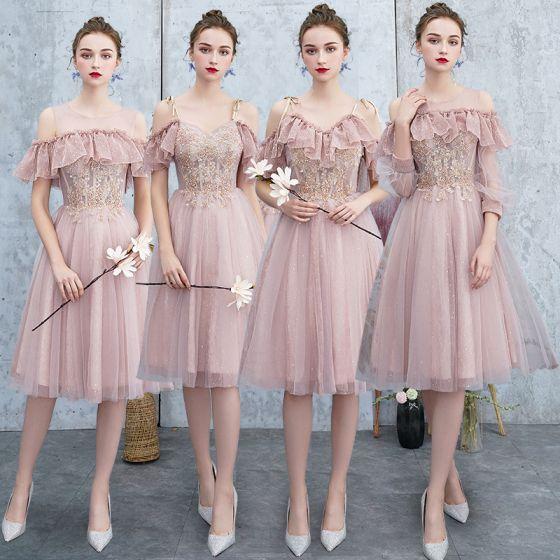 Meilleur Rougissant Rose Robe Demoiselle D'honneur 2019 Princesse Appliques En Dentelle Perlage Glitter Tulle Mi-Longues Volants Dos Nu Robe Pour Mariage