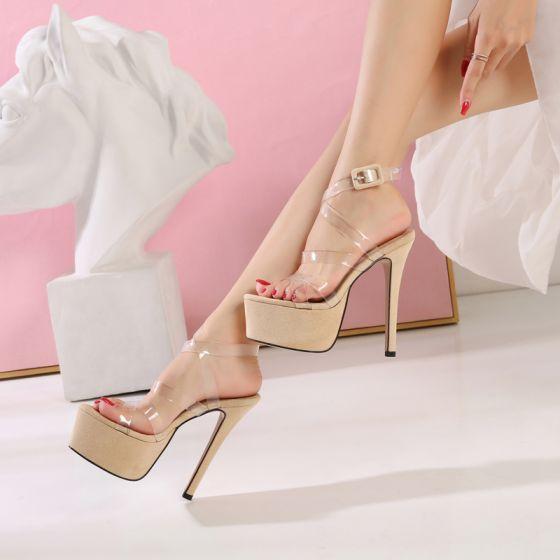 Moda Beige High Heels Sandalias 2019 X-Correa Cuero Caucho Fiesta Noche Camuflaje Hebilla Peep Toe 14 cm Zapatos De Mujer