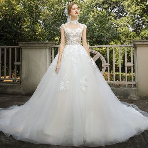 Vintage / Retro Romantic Champagne Bridal Wedding Dresses 2020 Ball Gown See-through High Neck Sleeveless Appliques Lace Chapel Train Ruffle