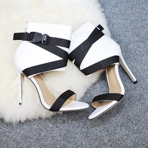 Chic / Beautiful Ivory Street Wear Womens Sandals 2020 Suede 11 cm Stiletto Heels Open / Peep Toe Sandals