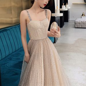 Bling Bling Champagne Prom Dresses 2019 A-Line / Princess Shoulders Sleeveless Glitter Tulle Floor-Length / Long Ruffle Backless Formal Dresses