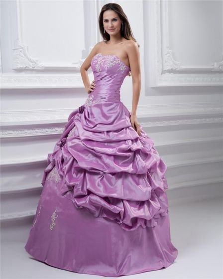 Ball Gown Satin Applique Embroidery Strapless Floor Length Quinceanera Prom Dresses