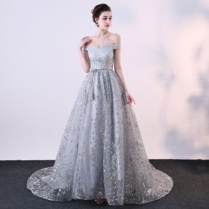 Sparkly Grey Evening Dresses  2018 A-Line / Princess Glitter Sequins Off-The-Shoulder Backless Sleeveless Sweep Train Formal Dresses