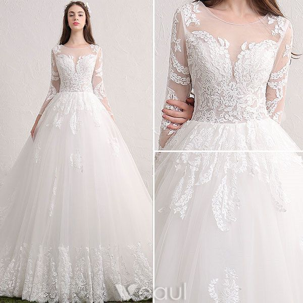 Gorgeous Wedding Dresses 2017 Scoop Neckline Wiht Applique Lace Backless Bridal Gowns