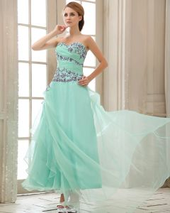 Ruffle Embroidery Sweetheart Neck Zipper Chiffon Women Prom Dress