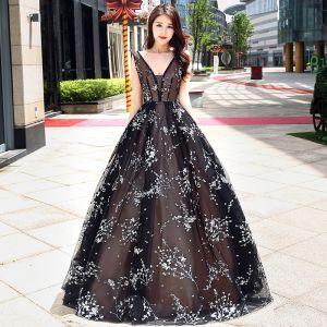 Chic / Belle Robe De Bal 2017 Noir Longue Princesse V-Cou Sans Manches Dos Nu Appliques Fleur Percé Robe De Ceremonie