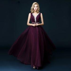 Chic / Belle Grape Robe De Soirée 2018 Princesse V-Cou Sans Manches Faux Diamant Ceinture Train De Balayage Volants Dos Nu Robe De Ceremonie