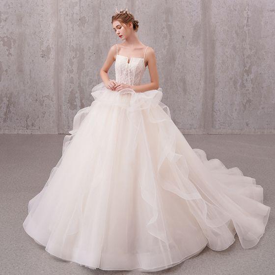 Chic / Beautiful Ivory Wedding Dresses 2019 A-Line / Princess Beading Pearl Spaghetti Straps Sleeveless Backless Appliques Lace Chapel Train Ruffle