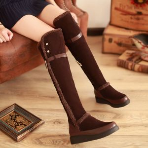 Modern / Fashion Snow Boots 2017 Brown Leather Over The Knee / Thigh High Buckle Zipper Casual Winter Flat Womens Boots