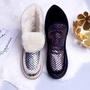 Modern / Fashion Snow Boots 2017 Printing Sequins Leather Ankle Casual Winter Flat Womens Boots