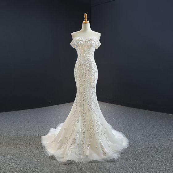 Luksusowe Białe Sukienki Wieczorowe 2020 Syrena / Rozkloszowane Przy Ramieniu Kótkie Rękawy Aplikacje Cekiny Frezowanie odpinany Trenem Kaplica Wzburzyć Bez Pleców Sukienki Wizytowe