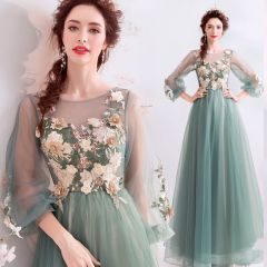 Flower Fairy Jade Green Prom Dresses 2019 A-Line / Princess Scoop Neck Lace Flower Appliques Pearl Rhinestone 3/4 Sleeve Backless Floor-Length / Long Formal Dresses