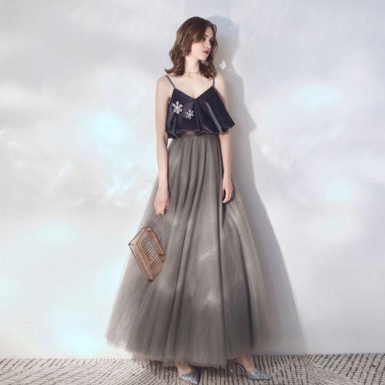 Abendkleid grau lang