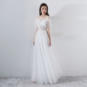 Modern / Fashion White Evening Dresses  2018 A-Line / Princess Beading Off-The-Shoulder Short Sleeve Floor-Length / Long Ruffle Backless Formal Dresses