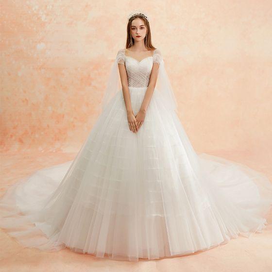 Schlicht Ivory / Creme Brautkleider / Hochzeitskleider 2019 A Linie Eckiger Ausschnitt Kurze Ärmel Rückenfreies Kathedrale Schleppe Rüschen