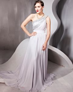 Beading One Shoulder Backless Floor Length Evening Dresses