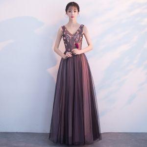 Elegant Black Prom Dresses 2018 A-Line / Princess Beading Appliques V-Neck Backless Sleeveless Floor-Length / Long Formal Dresses