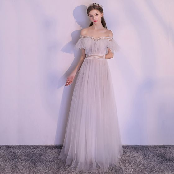 Sparkly White Floor-Length / Long Evening Dresses  2018 A-Line / Princess Tulle Backless Beading Pearl Strapless Evening Party Formal Dresses