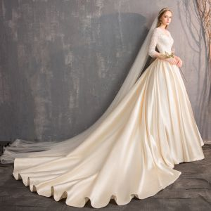 Illusion Champagne Wedding Dresses 2019 A-Line / Princess V-Neck 3/4 Sleeve Backless Beading Pearl Cathedral Train Ruffle