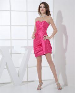 Decollete Bustier Plisse Cuisse Longueur Charmeuse Sans Manches Robe De Fete De Cocktail Femme