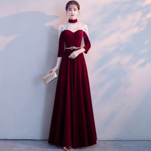 Style Chinois Bordeaux Transparentes Robe De Soirée 2018 Princesse Col Haut 3/4 Manches Appliques En Dentelle Métal Ceinture Longue Volants Robe De Ceremonie