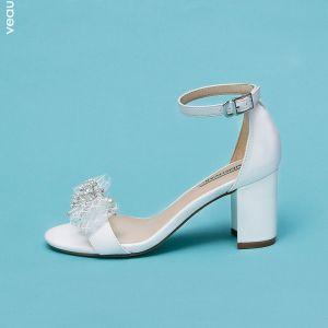 Schöne Ivory / Creme Datierung Sandalen Damen 2020 Perle Strass Schleife 7 cm Stilettos Peeptoes Sandaletten