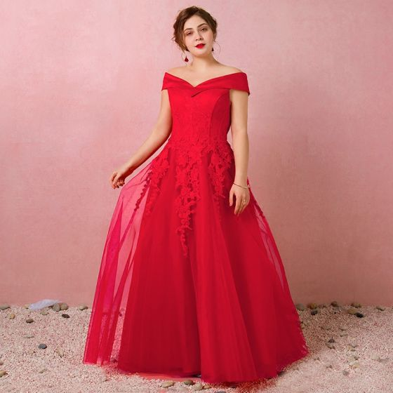 Classic Elegant Red Plus Size Evening Dresses  2018 A-Line / Princess Lace-up Tulle Spring Appliques Backless Strapless Evening Party Formal Dresses